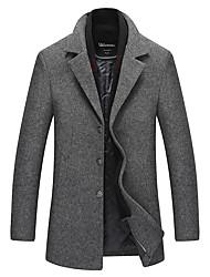 cheap -Men's Solid Colored Basic Fall & Winter Coat Long Daily Long Sleeve Wool Coat Tops Khaki