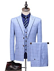 cheap -Tuxedos Tailored Fit / Standard Fit Peak Single Breasted Two-buttons Cotton Blend / Cotton / Polyester Plaid / Check
