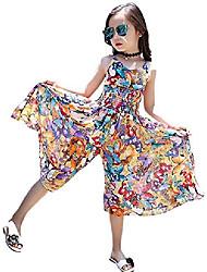 cheap -girl's summer cute floral straps jumpsuit beach boho dress flowers 10-11 years