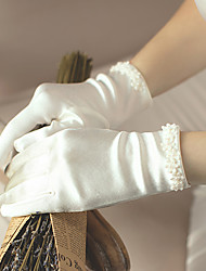 cheap -Satin Wrist Length Glove Stylish With Faux Pearl / Floral