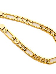 cheap -lifetime jewelry diamond cut 7mm figaro bracelet for men 24k real gold plated (9)