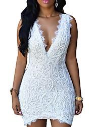 cheap -Women's Sheath Dress Short Mini Dress White Black Sleeveless Solid Color Lace Summer V Neck Hot Sexy 2021 S M L XL