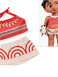 cheap -Moana Skirt Cosplay Costume Outfits Kid's Girls' Cosplay Halloween Halloween Festival / Holiday Polyester Red Easy Carnival Costumes / Top / Skirts