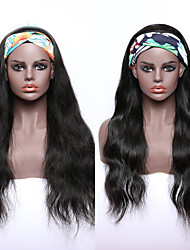 cheap -Human Hair 100% Hand Tied Wig Free Part Headband Wig style Brazilian Hair Curly Natural Black Wig 150% Density Women Medium Size Natural Hairline For Black Women Women's Short Long Medium Length