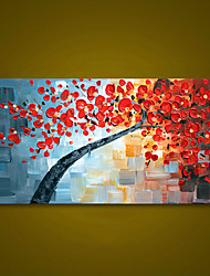 cheap -Unframed Red Flower Tree Thick Textured Hand Painted Palette Knife Oil Painting Home Decor Modern Wall Art Picture For Room Rolled Without Frame
