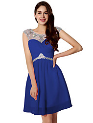cheap -A-Line Beautiful Back Flirty Homecoming Cocktail Party Dress Illusion Neck Sleeveless Short / Mini Chiffon with Ruched Beading 2020