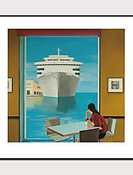 cheap -Framed Art Print Framed Set 1 -Morandi Color Abstract Cruise Ships Landscape Art PS Photo Wall Art