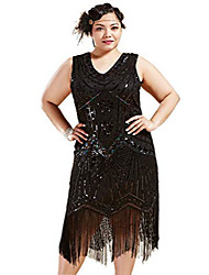 cheap -women's plus size flapper dresses 1920s v neck beaded fringed great gatsby dress (glam black, xxx-large)
