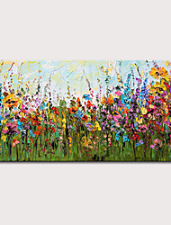 cheap -Oil Painting Hand Painted Horizontal Floral / Botanical Abstract Landscape Modern Stretched Canvas