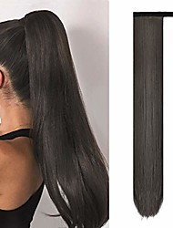 cheap -straight ponytail extensions 28 inch long wrap around synthetic hair piece clip in ponytail hair extensions hairpiece for women girls 150g