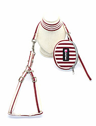 cheap -Dog Cat Harness Leash Portable Trainer Vest Escape Proof Stripes Polyester Cotton Golden Retriever Japanese Spitz Beagle Bulldog Shiba Inu Shih Tzu Red Dark Red Gray 1 set