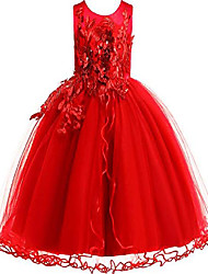 cheap -little girl flower lace dress kids princess wedding bridesmaid birthday pageant party prom ball gown toddler vintage tutu tulle dresses & #40;bright red, 5-6 years& #41;