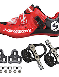 cheap -SIDEBIKE Cycling Shoes With Pedals & Cleats Road Bike Shoes Nylon Carbon Fiber Breathable Cushioning Ultra Light (UL) Cycling Red / black Men's Cycling Shoes / Quick Dry