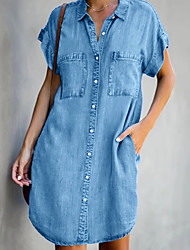 cheap -Women's Denim Shirt Dress Short Mini Dress Light Blue Short Sleeve Pocket Summer Shirt Collar Hot Casual 2021 S M L XL XXL