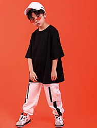 billige -Hip-Hop Topp Holder Ledning Mønster / trykk 7 tommer (ca. 18cm) Kort Glidelås Unisex Trening Ytelse 3/4 ermer Høy Bomull Polyester