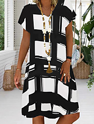 cheap -Women's Sundress Knee Length Dress Black Red Royal Blue Short Sleeve Geometric Print Summer V Neck Hot Casual 2021 S M L XL XXL 3XL 4XL 5XL / Plus Size