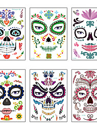 cheap -Halloween Party Toys Tattoo Stickers 20 pcs Skull Spiders Face Waterproof Masquerade Paper Kid's Adults Trick or Treat Halloween Party Favors Supplies