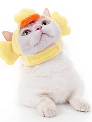 cheap -Dog Cat Hats, Caps & Bandanas Bandanas & Hats Cartoon Chick Cat Headwarmers Headpieces Christmas Party Dog Clothes Yellow Costume Cotton / Birthday / Halloween