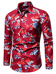 cheap -Men's optical illusion Shirt Long Sleeve Party Tops Beach Tropical Button Down Collar Black Blue Red