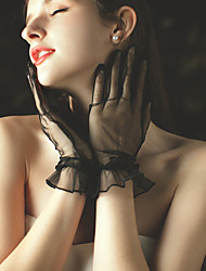 cheap -Net Wrist Length Glove Party / Evening / Lace With Ruffles / Solid