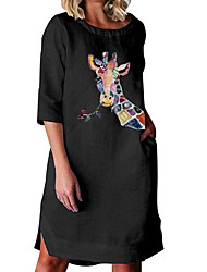 cheap -Women's A-Line Dress Knee Length Dress - 3/4 Length Sleeve Animal Print Summer Work Casual Loose 2020 White Black S M L XL XXL 3XL 4XL 5XL