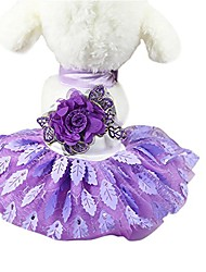 cheap -wedding dress pet puppy clothes for small dogs lace cat skirt party princess pet apparel purple