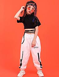 billige -Hip-Hop Topp Mønster / trykk 7 tommer (ca. 18cm) Kort Glidelås Bandasje Jente Trening Ytelse Kortermet Høy Bomull Polyester
