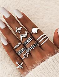 cheap -Ring Geometrical Silver Alloy Airplane Heart Flower Shape Ethnic Fashion Vintage 10pcs 5 / Women's