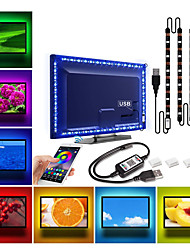 cheap -Bluetooth RGB LED Strip Light SMD5050 240 LEDs 1Mx4 PCS and 3 x USB Connecting Line Diode Tape Flexible Neon Ledstrip Ribbon LED Strip USB 5V TV Backlight
