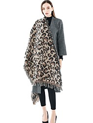 cheap -Women's Tassel Rectangle Scarf - Leopard Washable