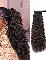 cheap -alimice long corn wave ponytail extension synthetic wavy curly wrap around clip in ponytail hair extensions for women natural hair ponytails for girl lady magic paste ponytail