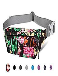 billige -Fanny-pakke tynn myk polyester vannavstengende midjeposepakke for menn kvinner som bærer iphone 8 samsung s6& # 40; svart base rød floral& # 41;