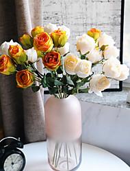 cheap -Artificial Roses Flowers Decor 1 Piece 3 Flower Heads Simulation Flowers Bridal Bouquet