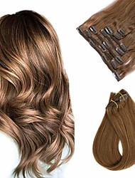 cheap -Clip In Hair Extensions Remy Human Hair Clip On Hair Extensions 7pcs 100 g Pack Straight Blonde 14-24 inch Hair Extensions