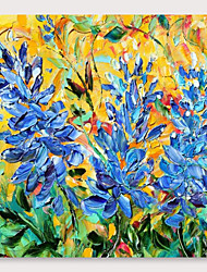 cheap -IARTS Hand Painted Blue flowers with color spots Oil Painting with Stretched Frame For Home Decoration With Stretched Frame