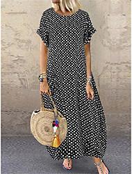 cheap -Women's Shift Dress Maxi long Dress White Black Navy Blue Short Sleeve Polka Dot Print Summer Round Neck Hot Casual Loose 2021 S M L XL XXL 3XL 4XL 5XL