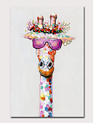 cheap -Oil Painting Hand Painted Vertical Animals Pop Art Modern Rolled Canvas (No Frame)