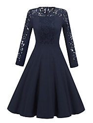 cheap -Women's A Line Dress Knee Length Dress Black Navy Blue Long Sleeve Solid Color Lace Patchwork Fall Round Neck Sexy 2021 S M L XL XXL