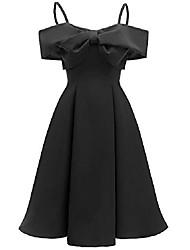 cheap -women cocktail swing dress elegant retro bridesmaid dress with bowknot c80 & #40;wine bowknot, xl& #41;
