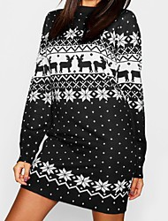 cheap -Women's Sweater Jumper Dress Short Mini Dress - Long Sleeve Print Print Fall Winter Casual Christmas 2020 Black Blue Red Green Light Blue S M L XL