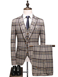 cheap -Tuxedos Tailored Fit Peak Single Breasted Two-buttons Polyster / Polyester Plaid / Check / Classic