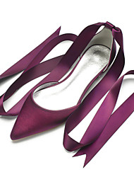 cheap -Women's Wedding Shoes Flat Heel Pointed Toe Wedding Flats Classic Sweet Wedding Party & Evening Satin Lace-up Solid Colored White Black Purple