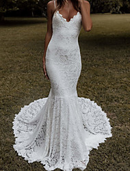 cheap -Mermaid / Trumpet Wedding Dresses V Neck Chapel Train Lace Sleeveless Beach with Appliques 2021