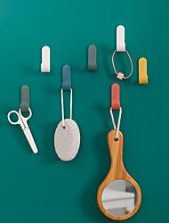cheap -2/4pcs Towel Hooks Plastic Door Hangers Self Adhesive Wall Hangers Hat Racks Keys Hanger Home Decor