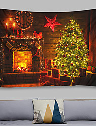 cheap -Christmas Weihnachten Santa Claus Wall Tapestry Art Decor Blanket Curtain Picnic Tablecloth Hanging Home Bedroom Living Room Dorm Decoration Chimney Fireplace Wooden Board Christmas Tree Gift Polyeste