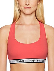 cheap -amazon brand - women's cotton with mesh racerback and logo elastic bralette (for a-c cups), cayenne, small