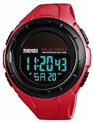 cheap -men's solar digital sports watch, 50m waterproof military outdoor watches black large face with stopwatch alarm shock resistant led