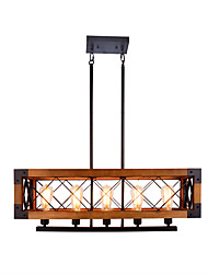 cheap -80 cm American Country Retro Industrial Loft Five Rectangular Solid Wood Chandelier Wood Lamps Household Living Room Restaurant Hotel Lsland Light