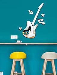 cheap -1 Piece Set Acrylic Art 3D Mirror Guitar Wall Sticker DIY Home Wall Decal Decoration Sofa TV Wall Removable Wall Sticker