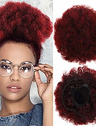 cheap -2 pieces afro puff drawstring ponytail synthetic short curly hair afro bun extension afro chignon hairpieces wig updo hair extensions & #40;red-1btbug#& #41;